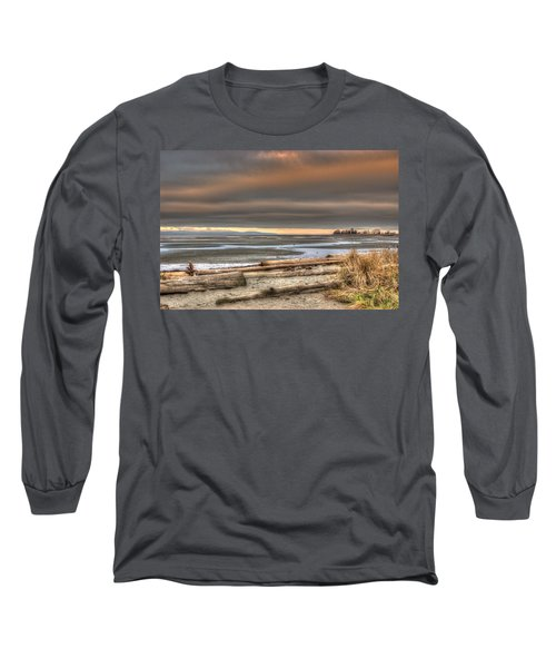 Fiery Sky Over The Salish Sea Long Sleeve T-Shirt