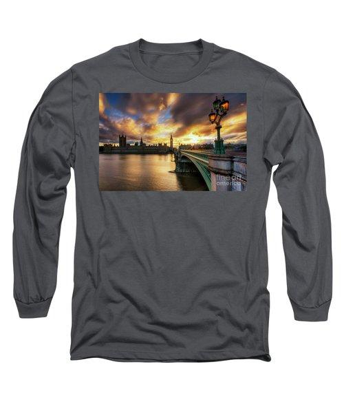 Fire In The Sky Long Sleeve T-Shirt by Yhun Suarez