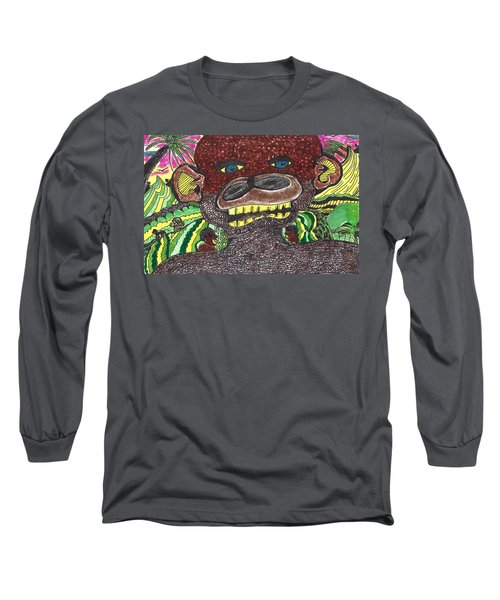 Long Sleeve T-Shirt featuring the drawing First Jungle by Don Koester
