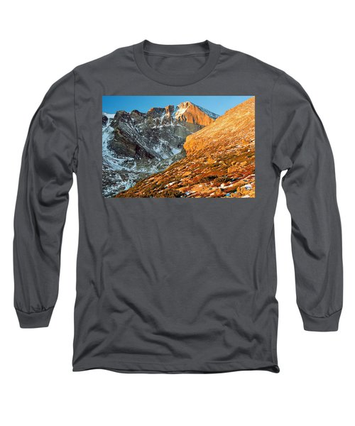 First Light At Longs Peak Long Sleeve T-Shirt by Eric Glaser