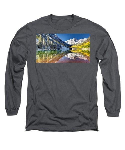 First Snow Maroon Bells Long Sleeve T-Shirt