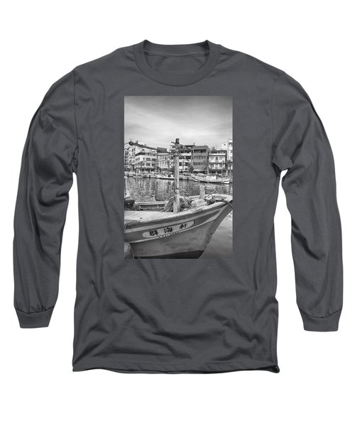 Fishing Boat B W Long Sleeve T-Shirt