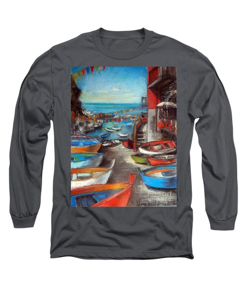 Fishing Boats In Riomaggiore Long Sleeve T-Shirt