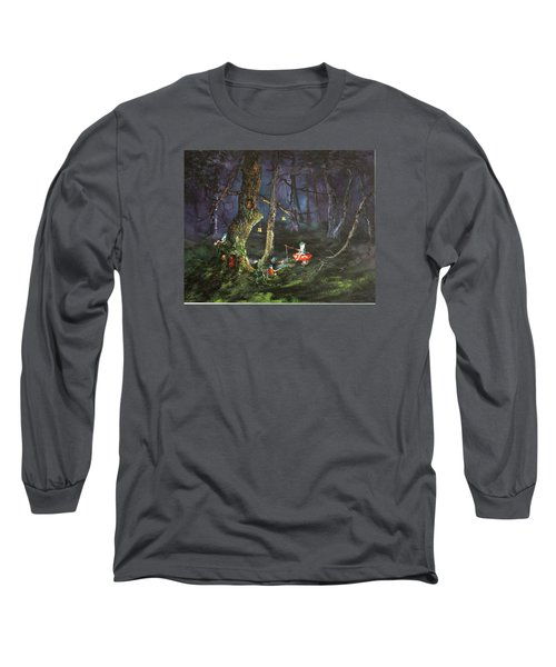Long Sleeve T-Shirt featuring the painting Fishing For Supper On Cannock Chase by Jean Walker