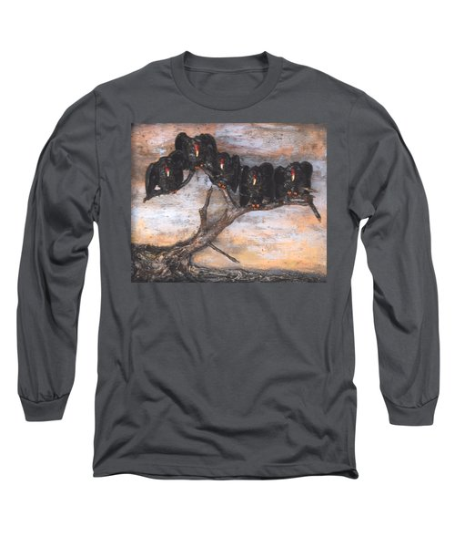 Five Vultures In Tree Long Sleeve T-Shirt