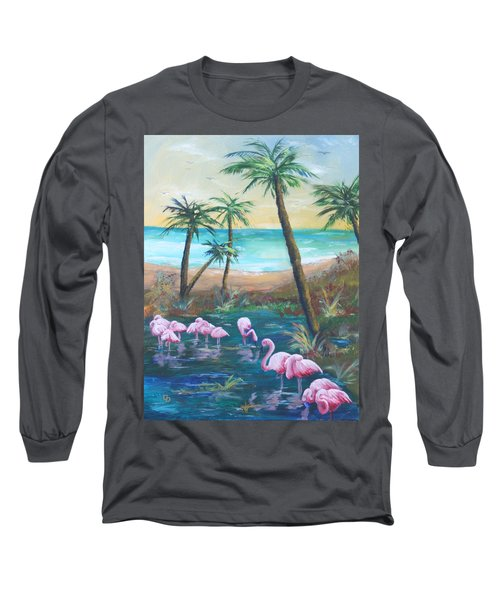 Flamingo Beach Long Sleeve T-Shirt