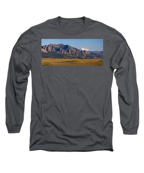 Flatirons And Snow Covered Longs Peak Panorama Long Sleeve T-Shirt by James BO  Insogna