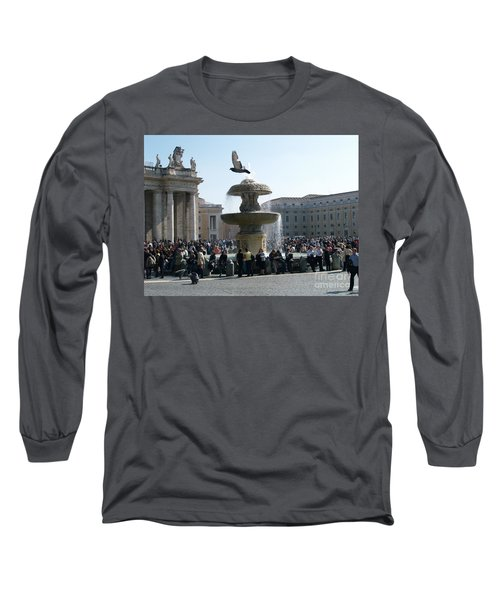 Flight And Fountain Long Sleeve T-Shirt by Robin Maria Pedrero