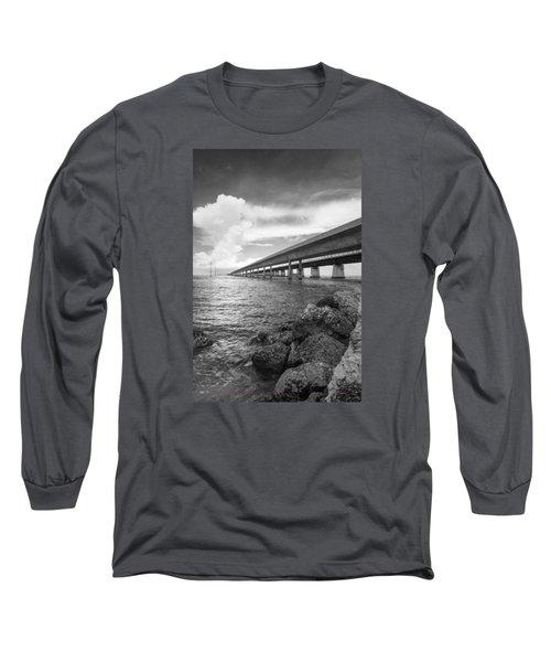 Florida Keys Seven Mile Bridge South Bw Vertical Long Sleeve T-Shirt