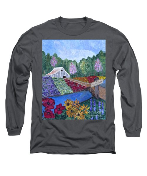 Long Sleeve T-Shirt featuring the painting Flower Farm -poppies Daisies Lavender Whimsical Painting by Ella Kaye Dickey