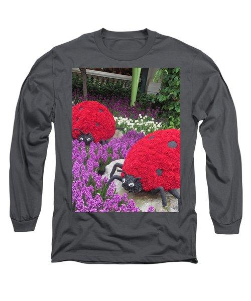 Long Sleeve T-Shirt featuring the photograph Flower Garden Ladybug Purple White I by Navin Joshi