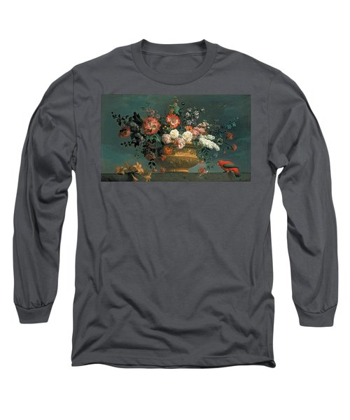 Flower Piece With Parrot Long Sleeve T-Shirt
