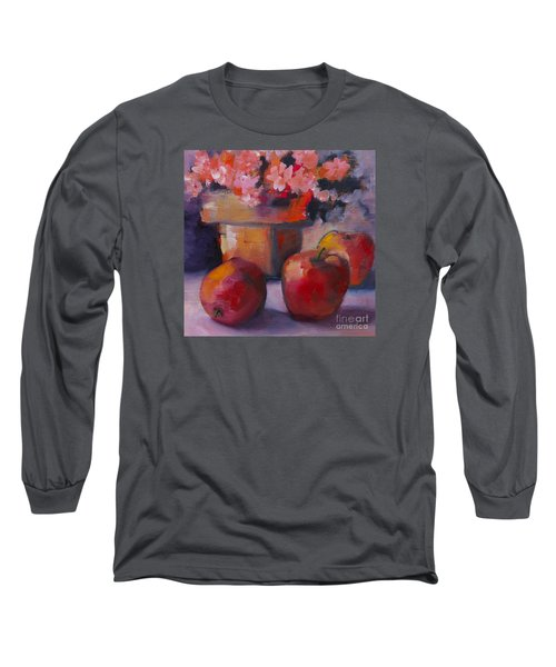Long Sleeve T-Shirt featuring the painting Flower Pot And Apples by Michelle Abrams