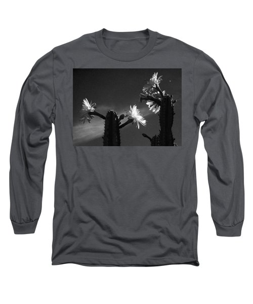 Long Sleeve T-Shirt featuring the photograph Flowering Cactus 4 Bw by Mariusz Kula
