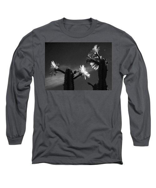 Flowering Cactus 4 Bw Long Sleeve T-Shirt