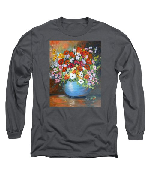 Long Sleeve T-Shirt featuring the painting Flowers For A Friend by Dorothy Maier