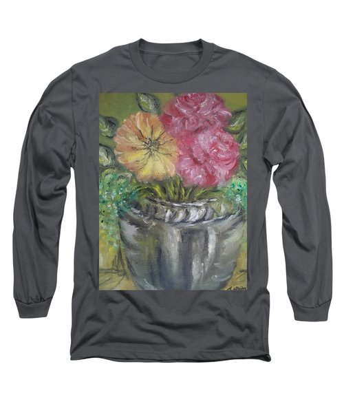 Long Sleeve T-Shirt featuring the painting Flowers by Teresa White