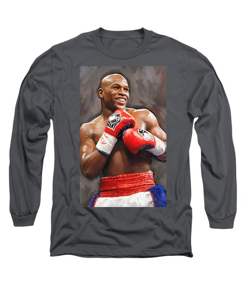 Long Sleeve T-Shirt featuring the painting Floyd Mayweather Artwork by Sheraz A