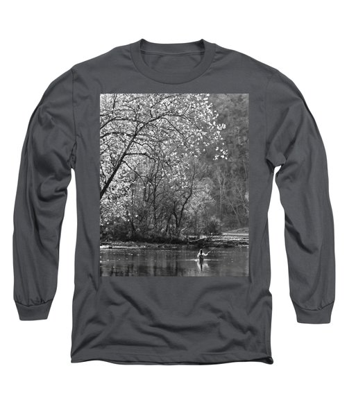 Long Sleeve T-Shirt featuring the photograph Fly Fisherwoman Bw by Denise Romano