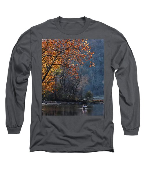Long Sleeve T-Shirt featuring the photograph Fly Fisherwoman by Denise Romano