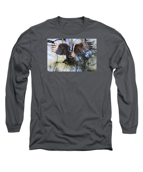 Flying Blind - Great Horned Owl Long Sleeve T-Shirt