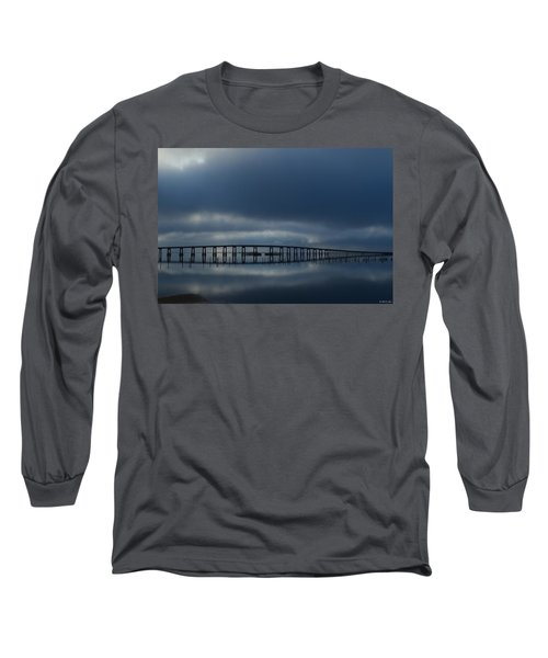 Long Sleeve T-Shirt featuring the photograph Foggy Mirrored Navarre Bridge At Sunrise by Jeff at JSJ Photography