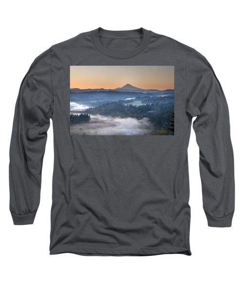 Long Sleeve T-Shirt featuring the photograph Foggy Sunrise Over Sandy River And Mount Hood by JPLDesigns
