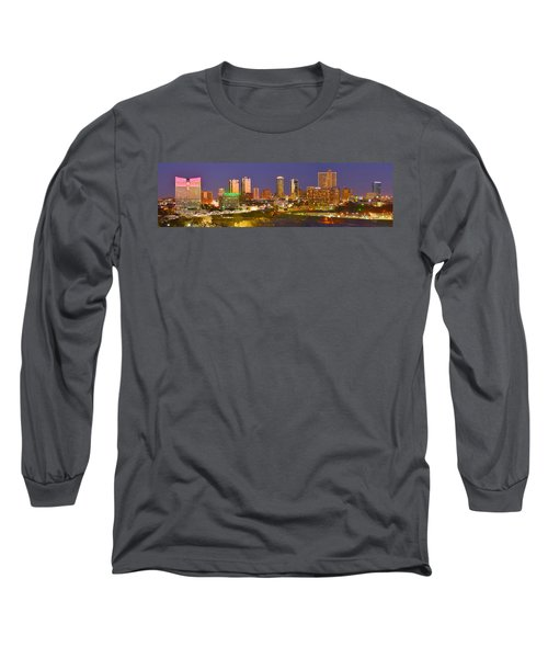 Long Sleeve T-Shirt featuring the photograph Fort Worth Skyline At Night Color Evening Panorama Ft. Worth Texas by Jon Holiday