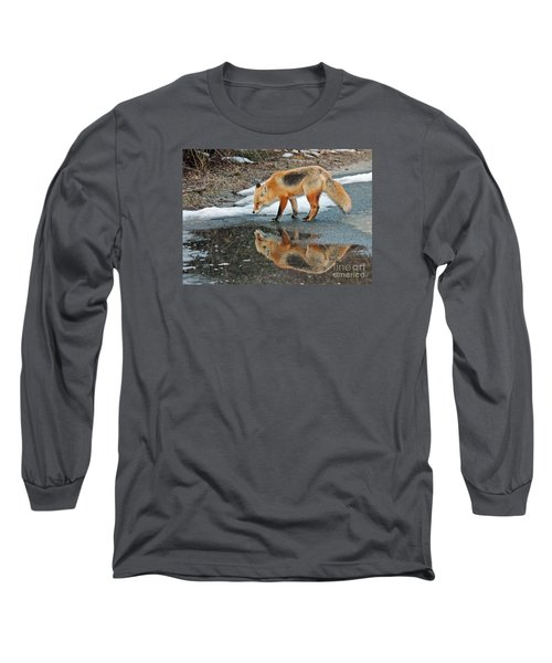 Long Sleeve T-Shirt featuring the photograph Fox Reflection by Sami Martin