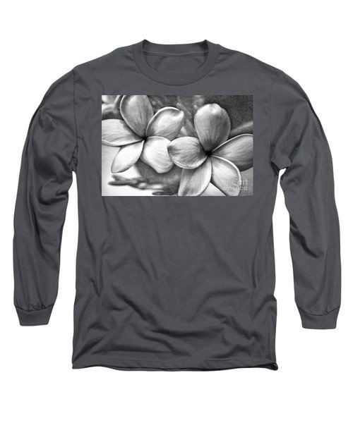 Frangipani In Black And White Long Sleeve T-Shirt by Peggy Hughes