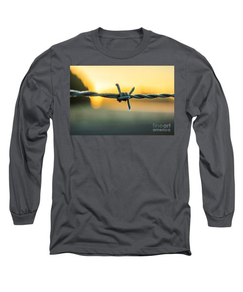 Frost On Barbed Wire At Sunrise Long Sleeve T-Shirt