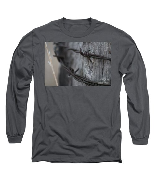 Long Sleeve T-Shirt featuring the photograph Frost On The Wire by Ann E Robson