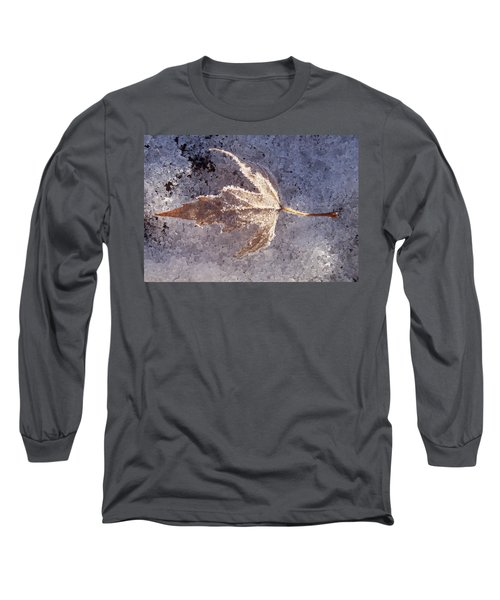 Long Sleeve T-Shirt featuring the photograph Frozen Leaf by Richard Bryce and Family