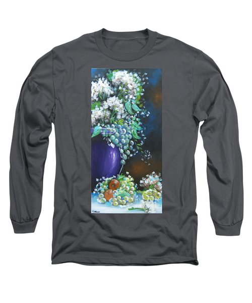 Long Sleeve T-Shirt featuring the painting Fruit And Flowers Still Life by Patrice Torrillo
