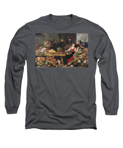 Fruit And Vegetable Market Oil On Canvas Long Sleeve T-Shirt by Frans Snyders