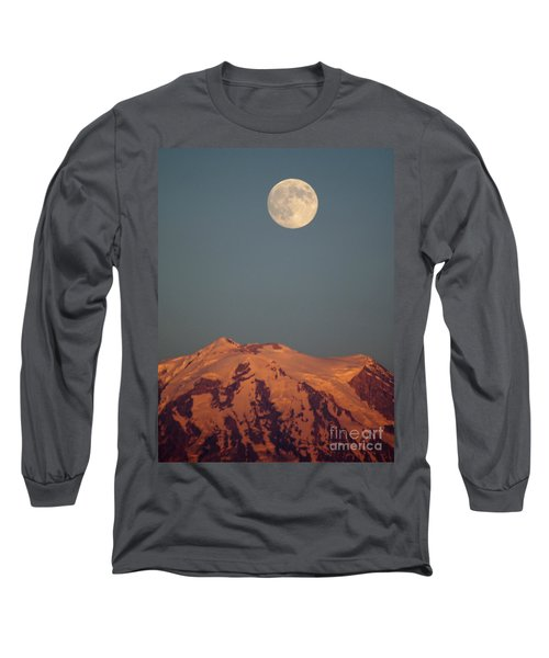 Full Moon Over Mount Rainier Long Sleeve T-Shirt