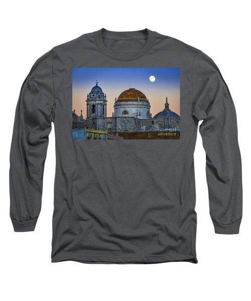 Full Moon Rising Over The Cathedral Cadiz Spain Long Sleeve T-Shirt by Pablo Avanzini