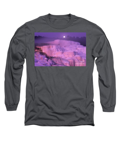 Full Moon Sets Over Minerva Springs On A Winter Morning Yellowstone National Park Long Sleeve T-Shirt