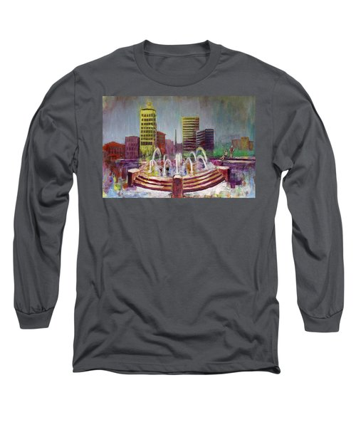 Fun In The Fountain In Asheville Long Sleeve T-Shirt by Gray  Artus