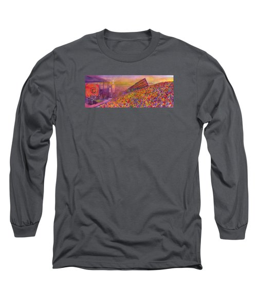 Long Sleeve T-Shirt featuring the painting Furthur At Redrocks 2011 by David Sockrider