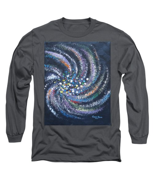 Long Sleeve T-Shirt featuring the painting Galaxy Swirl by Judith Rhue