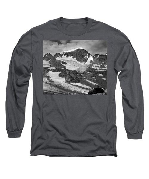 509427-bw-gannett Peak And Gooseneck Glacier, Wind Rivers Long Sleeve T-Shirt