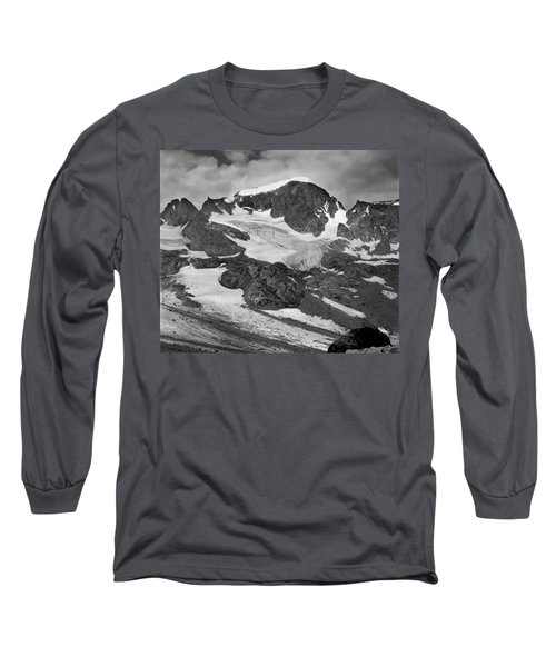 509427-bw-gannett Peak And Gooseneck Glacier, Wind Rivers Long Sleeve T-Shirt