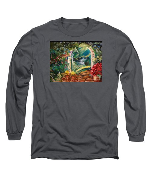 Long Sleeve T-Shirt featuring the painting Garden Of Serenity Beyond by Jenny Lee