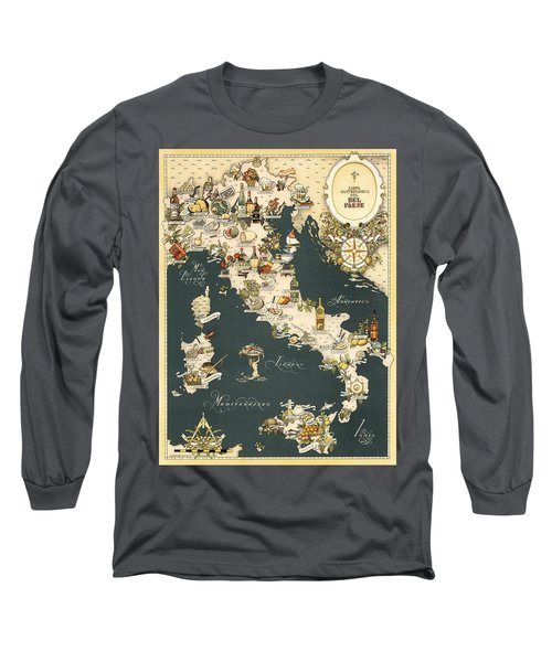 Gastronomic Map Of Italy 1949 Long Sleeve T-Shirt