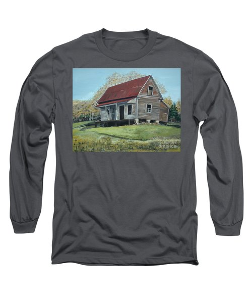 Long Sleeve T-Shirt featuring the painting Gates Chapel - Ellijay Ga - Old Homestead by Jan Dappen