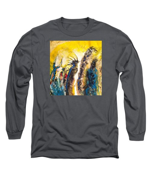 Long Sleeve T-Shirt featuring the painting Gathering 2 by Kicking Bear  Productions
