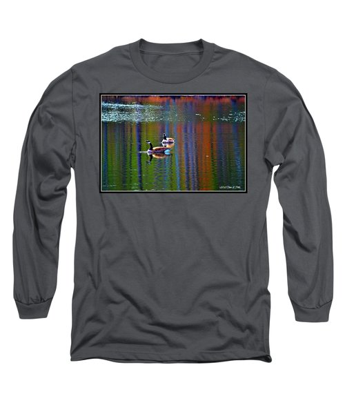 Long Sleeve T-Shirt featuring the photograph Geese On The Lake by Tara Potts