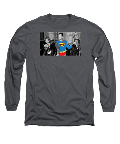 George Reeves As Superman In His 1950's Tv Show Apprehending Two Bad Guys 1953-2010 Long Sleeve T-Shirt