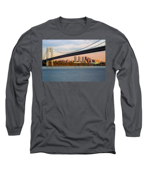 Long Sleeve T-Shirt featuring the photograph George Washington Bridge In Autumn by Susan Candelario